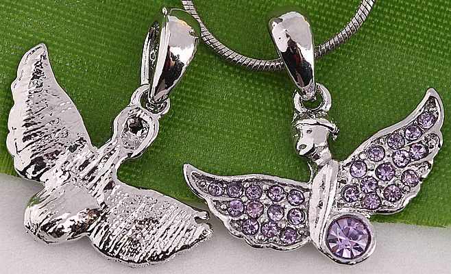 20 ST Mixed Angel Wing Crystal Charm Bead Pendant AA633