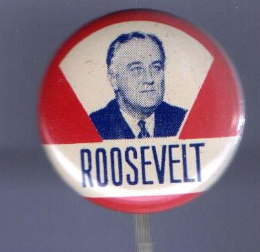 1930s pin Franklin Roosevelt pinback button pin FDR