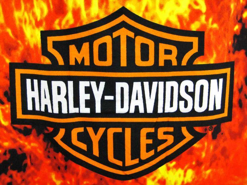 Harley Davidson Bar Shield Flames Beach Towel 60 X 30