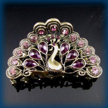 1pc rhinestone crystal Antiqued peacock hair claw clip