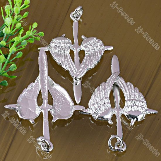 1x Cross Angel Wing Crystal Silver Plated Pendant Charm