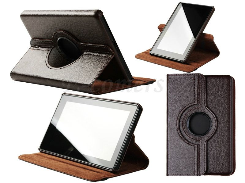 Kindle Fire 360° Rotating Leather Folio Case Cover & Film