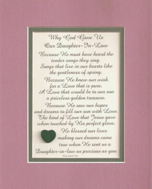 Gift Ideas For My Daughter In Law On Her Wedding Day : DAUGHTER IN LAW daughters verses poems plaques sayings