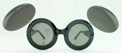 Big Mickey Mouse Flip Up Style G Lady Round Sunglasses Womens Black