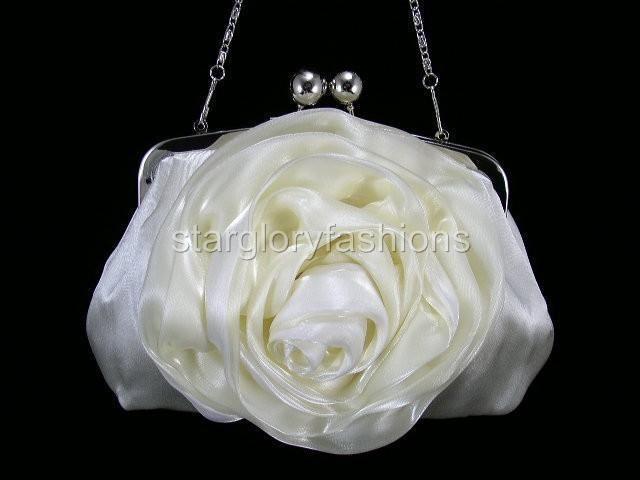 Bridal Cream/Ivory Rose Wedding/Prom Purse Clutch